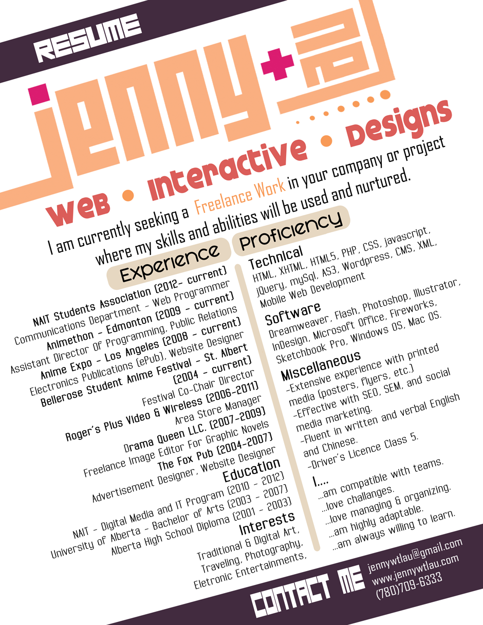 Jenny Lau - Web Interactive Designs - Contacts